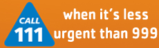 NHS 111 - Call 111 when its less urgent than 999 - Orange Background